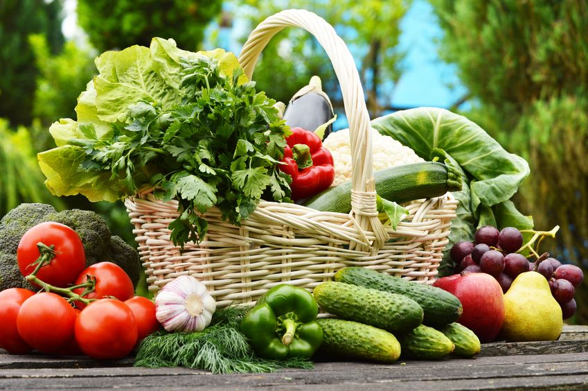 20483486 - fresh organic vegetables in wicker basket in the garden