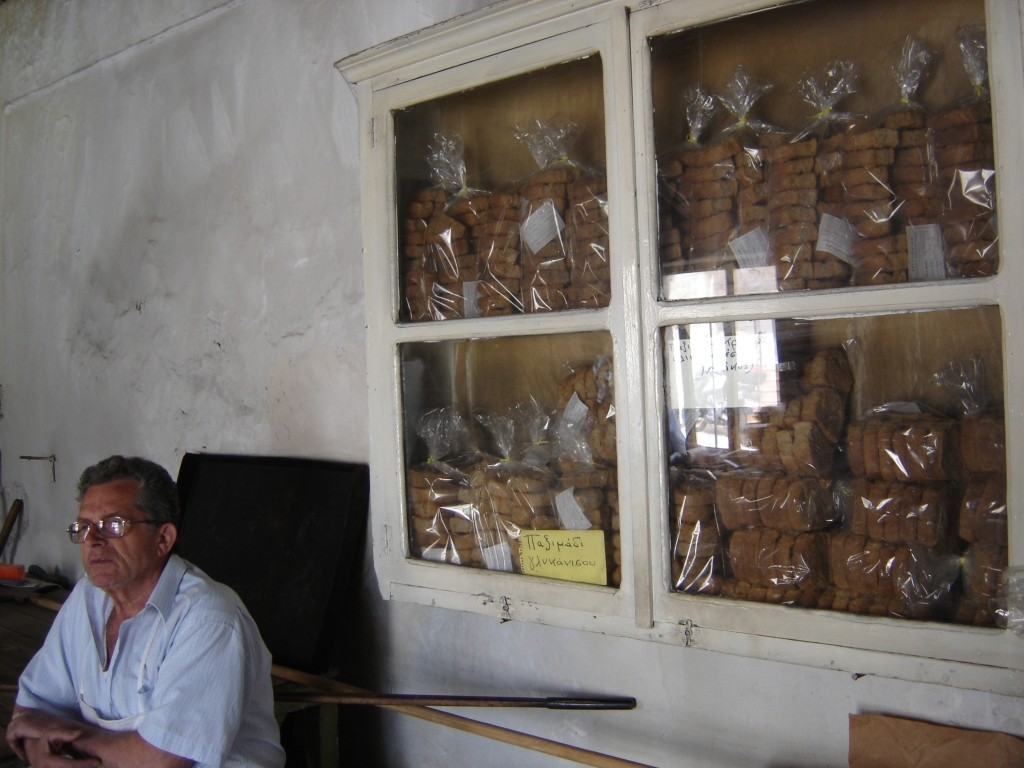 Dakos for sale in a Cretan bakery.