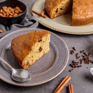 Almond Cake Baked with Olive Oil, Cinnamon and Raisins (Crete)