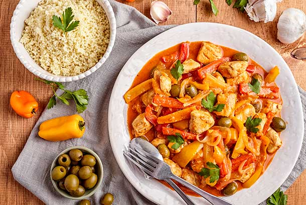 Moroccan Chicken with Lemons, Peppers and Olives