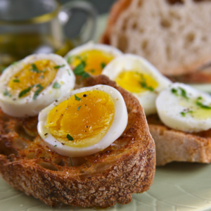 Hard Boiled Eggs with Olive Oil and Toast