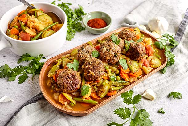Spiced Moroccan Meatballs and Veggies (Tagine Kefta)