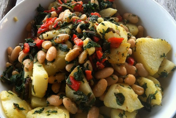 Dandelion, Cannellini, Potatoes & Roasted Red Peppers