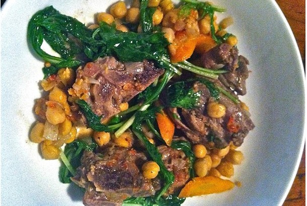 Lamb Stew With Spinach & Garbanzos