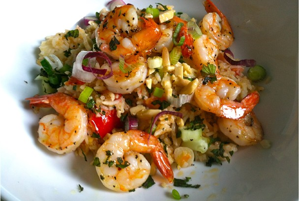 MediterrAsian Rice with Roasted Shrimp & Tomatoes