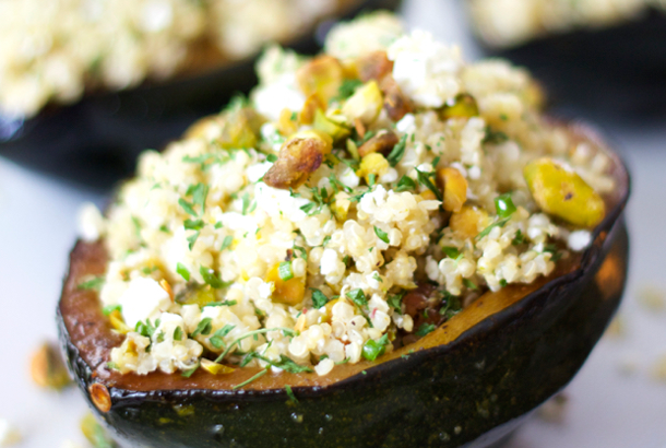 Mediterranean Diet: Acorn Squash stuffed with Quinoa, Feta and Pistachio