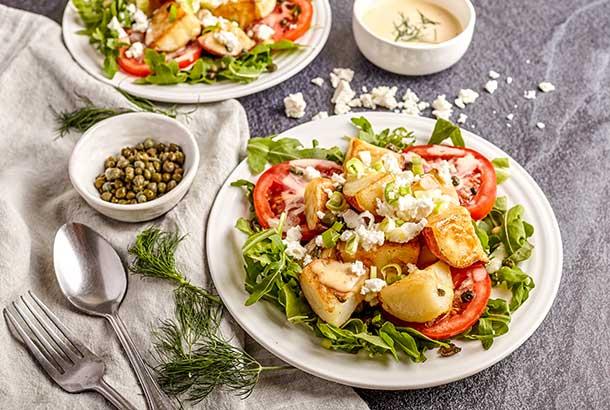 Mediterranean Fried Potato, Tomato and Arugula Salad