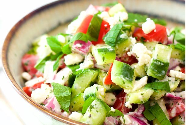 Cucumber, Tomato and Red Onion Salad: Mediterranean Diet Recipes
