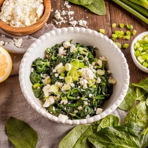 Spinach with Feta and Lemon (Island of Crete-Greece)