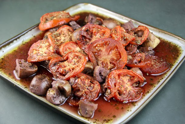Mushrooms and Tomatoes Baked in Wine from Patmos