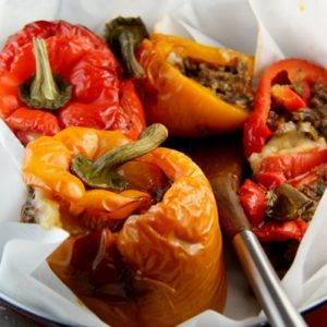 Stuffed Peppers with Ground Beef and Mushrooms