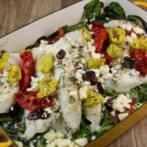 Baked Cod with Sun-Dried Tomatoes and Olives