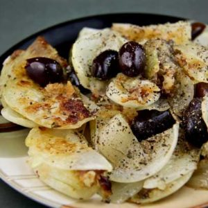 Fried Onion Salad with Black Olives (Greek Island of Skyros)