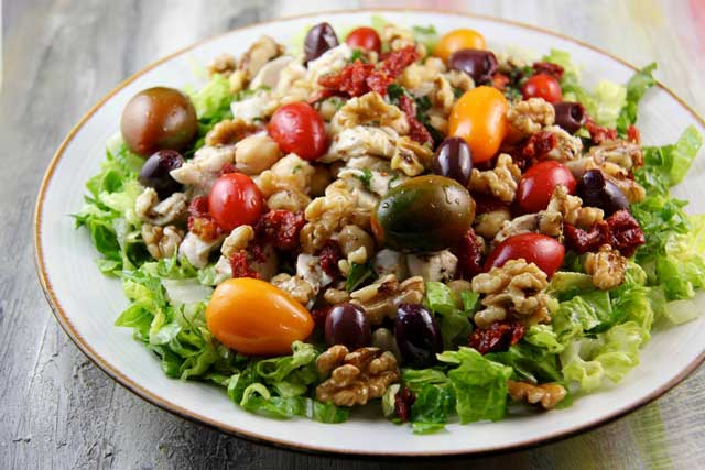 Chicken and Chickpea Salad with Fresh Basil Dressing (Greek Island of Crete)