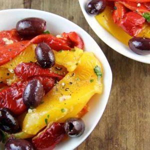 Roasted Pepper and Kalamata Olive Salad (Greek Island of Crete)