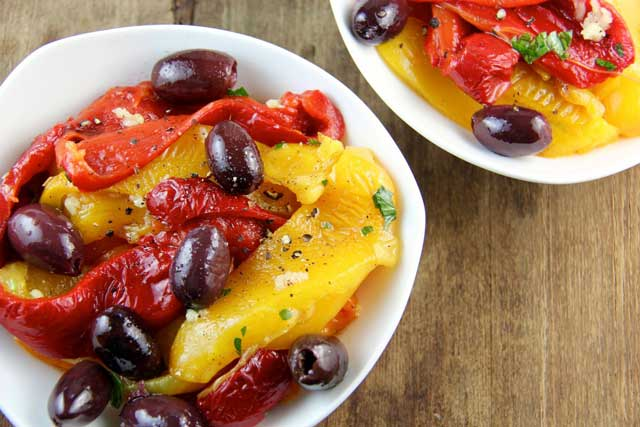 Roasted Pepper and Kalamata Olive Salad (Greek Island of Crete)