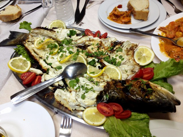 Whole Cooked Fish Thessaloniki in Lemon Olive Oil