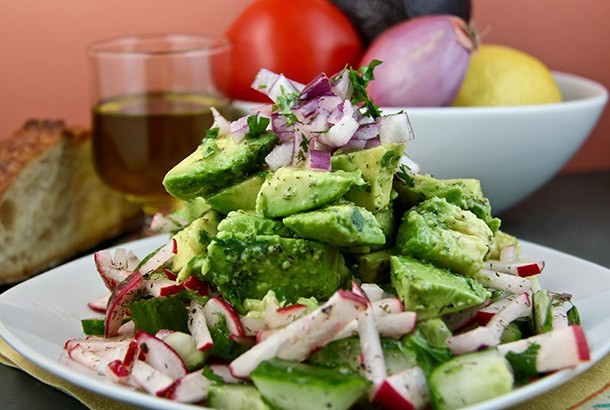 Mediterranean Diet Recipes: Avocado, Radish and Cucumber Salad