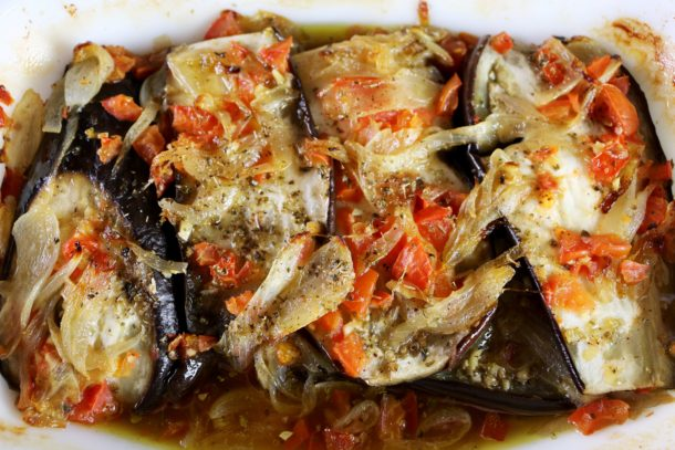 Mediterranean Diet: Baked Eggplant and Caramelized Onions