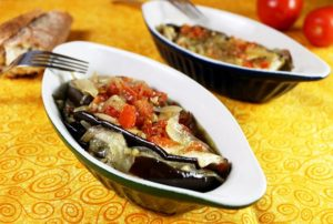Mediterranean Diet: Baked Eggplant with Caramelized Onions (Central Greece)