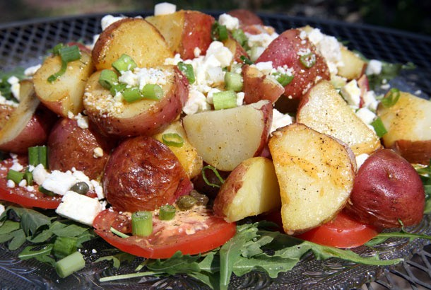 Mediterranean Diet Recipes: Fried Potato Salad with Tomatoes and Arugula