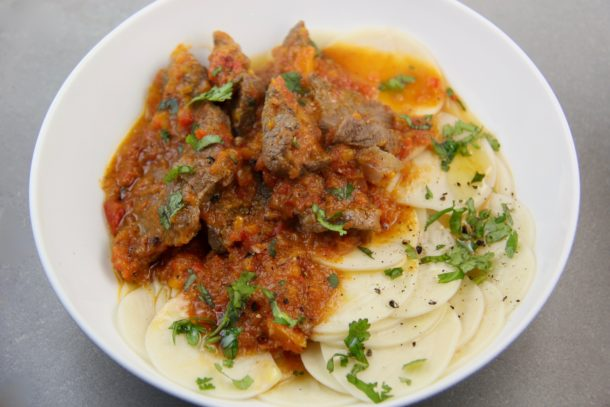 Mediterranean Diet Recipes: Beef Cacciatore with Croxetti pasta