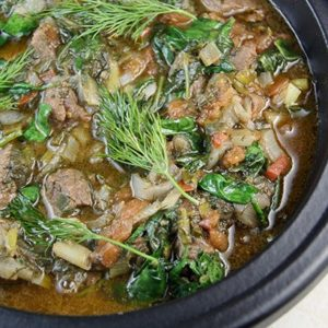 Mediterranean Diet: beef with spinach in skillet