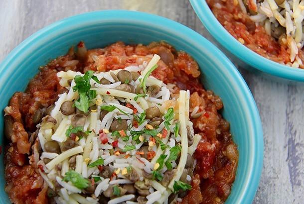 Egyptian Lentils with Rice and Pasta (Koshari)