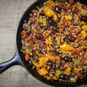 Mediterranean Diet Recipes: Kalamata and Chickpea Paella