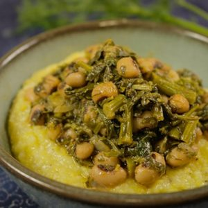 Mediterranean Diet Recipes: Beans and Greens with Polenta