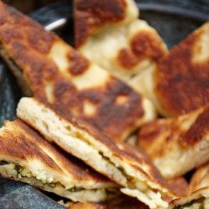 Turkish Flat Bread (Gozleme) with Spinach and Feta