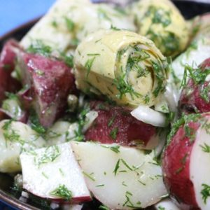Warm Red Bliss Potato Salad with Artichokes, Capers and Lemony Dill Vinaigrette