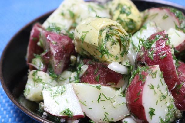 Warm Red Bliss Potato Salad with Artichokes, Capers and Lemony Dill Vinaigrette healthy potato salad