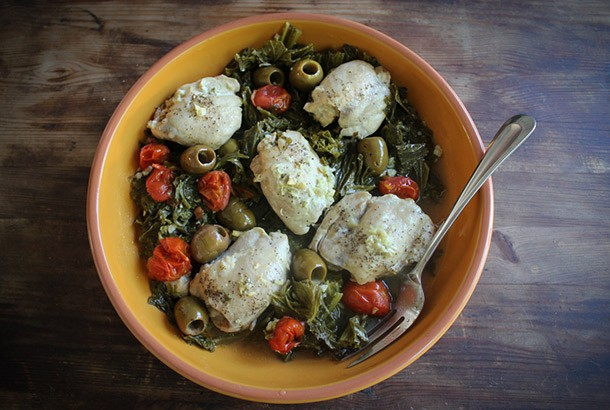 Instant Pot Chicken with Lemony Mustard Greens and Olives