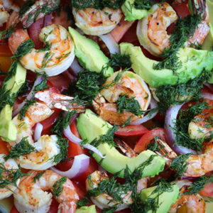 Grilled Shrimp Salad with Fresh Dill Dressing