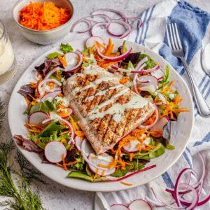 Grilled Salmon Salad with Yogurt Dill Dressing