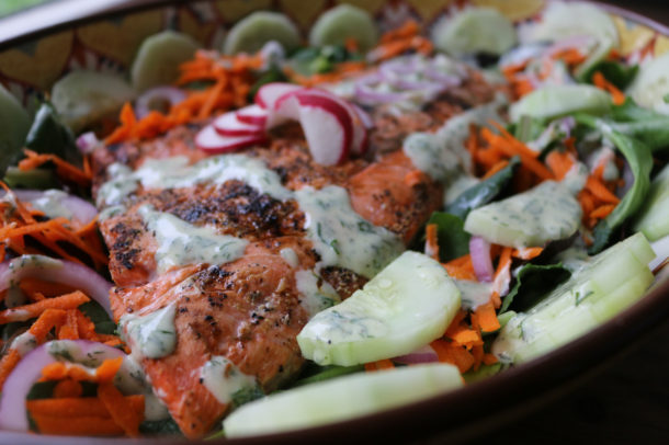 Grilled Salmon Salad with Yogurt Dill Dressing
