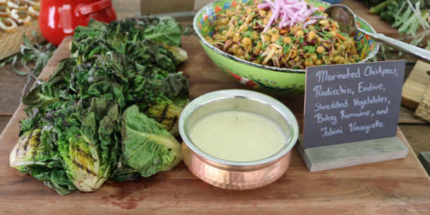 baby romaine with tahini vinaigrette