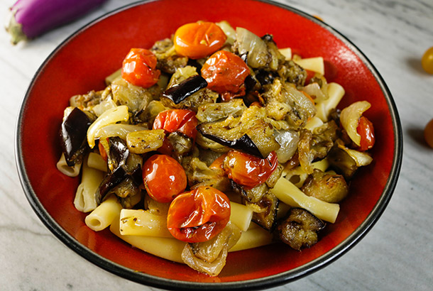 Ziti with Roasted Cherry Tomatoes and Eggplant