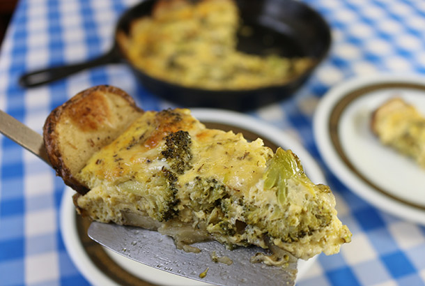 Broccoli Quiche with Roasted Potato Crust