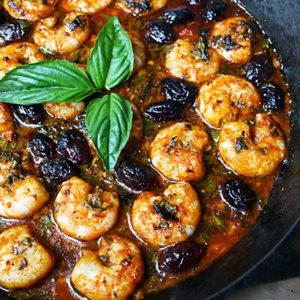 Skillet Garlic Shrimp with Basil and Olives