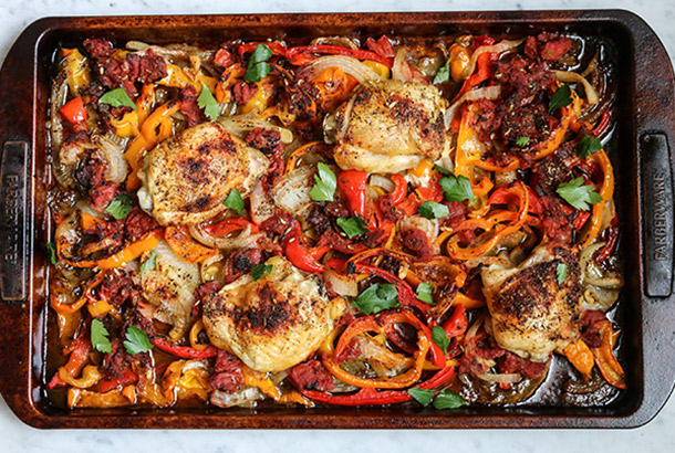 Sheet Pan Chicken Thighs with Peppers and Onions