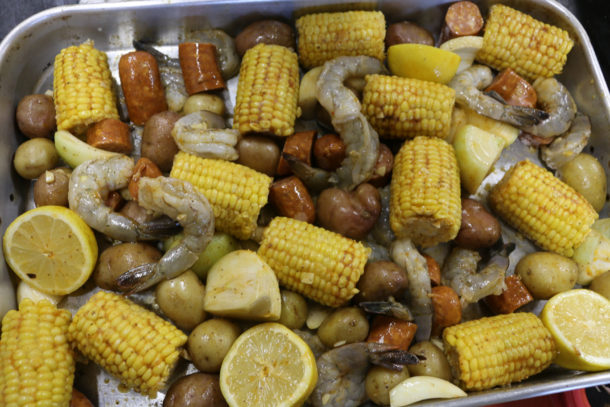 Mediterranean Sheet Pan Shrimp Boil Before Cooking