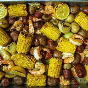 Mediterranean Sheet Pan Shrimp Boil
