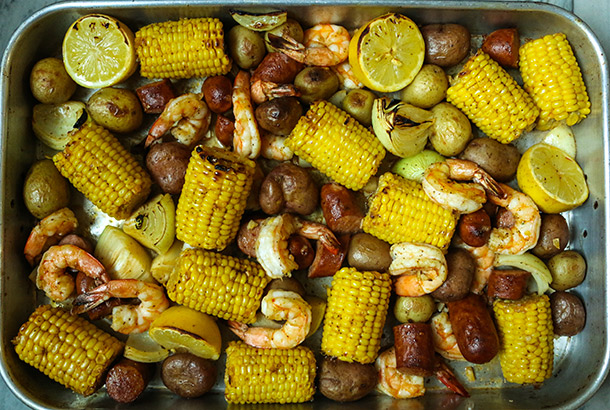 Mediterranean Sheet Pan Shrimp Boil