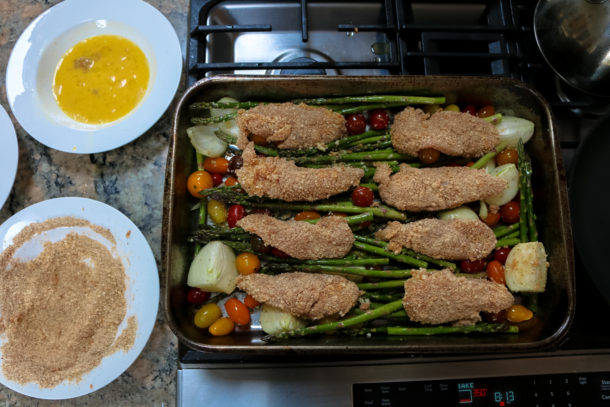 Mediterranean Fried Chicken with Cherry Tomatoes and Asparagus