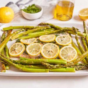 Sheet Pan Salmon with Asparagus, Lemon, and Dill