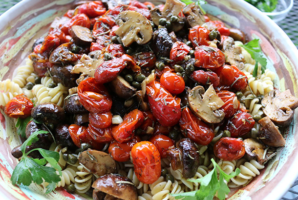 Cherry Tomato Sauce and Bela Mushrooms on Pasta