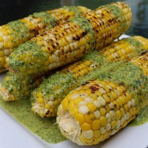 grilled corn recipe with green tahini sauce