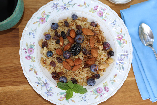 Lebanese Breakfast Bulgur Cereal with Fruits and Nuts